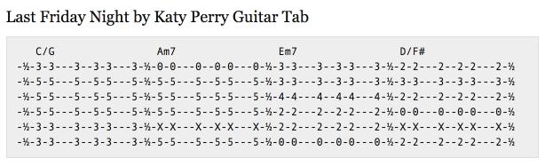 Last Friday Night Guitar Tab Example