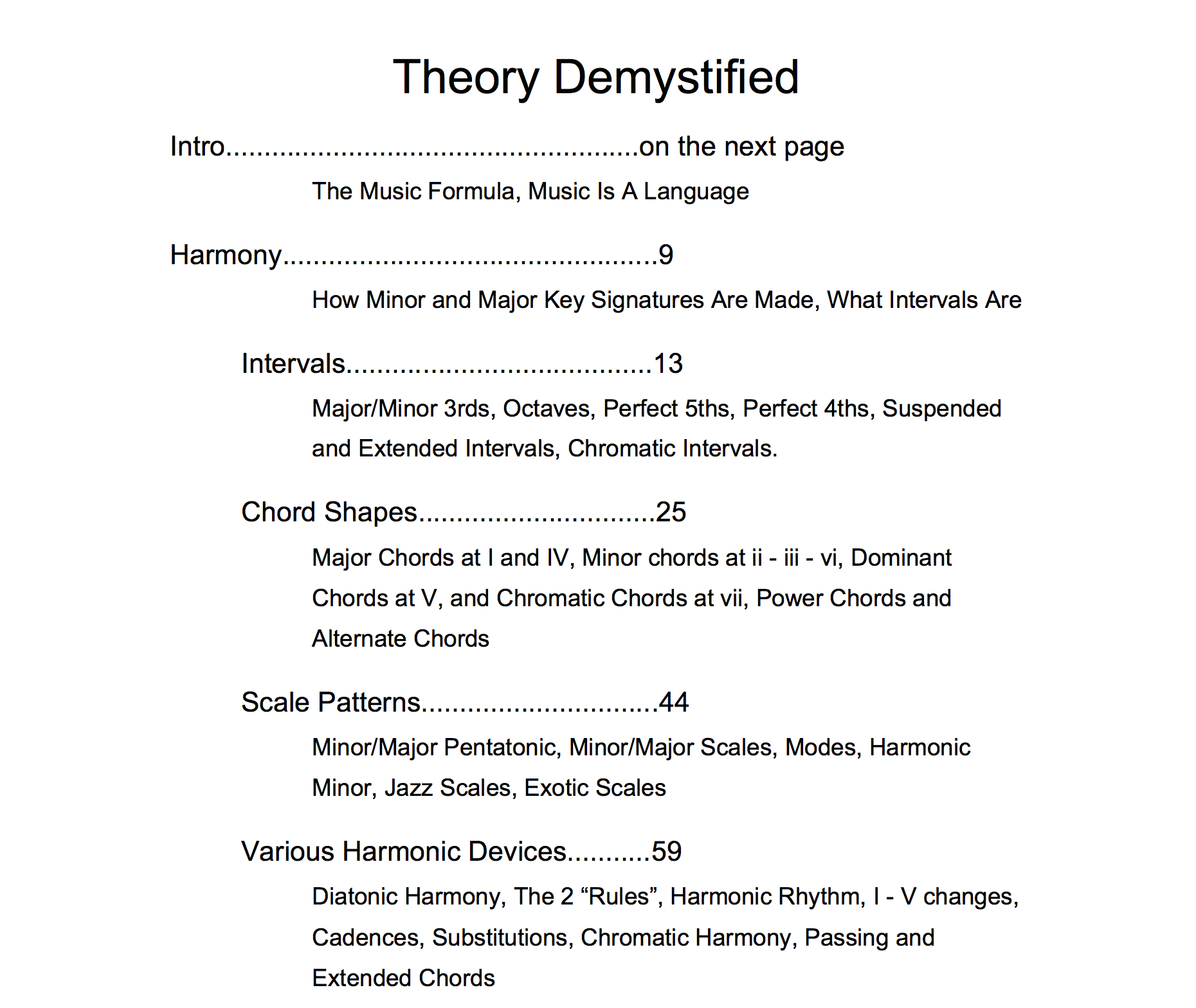 Theory Demystified Contents Page One Shopify