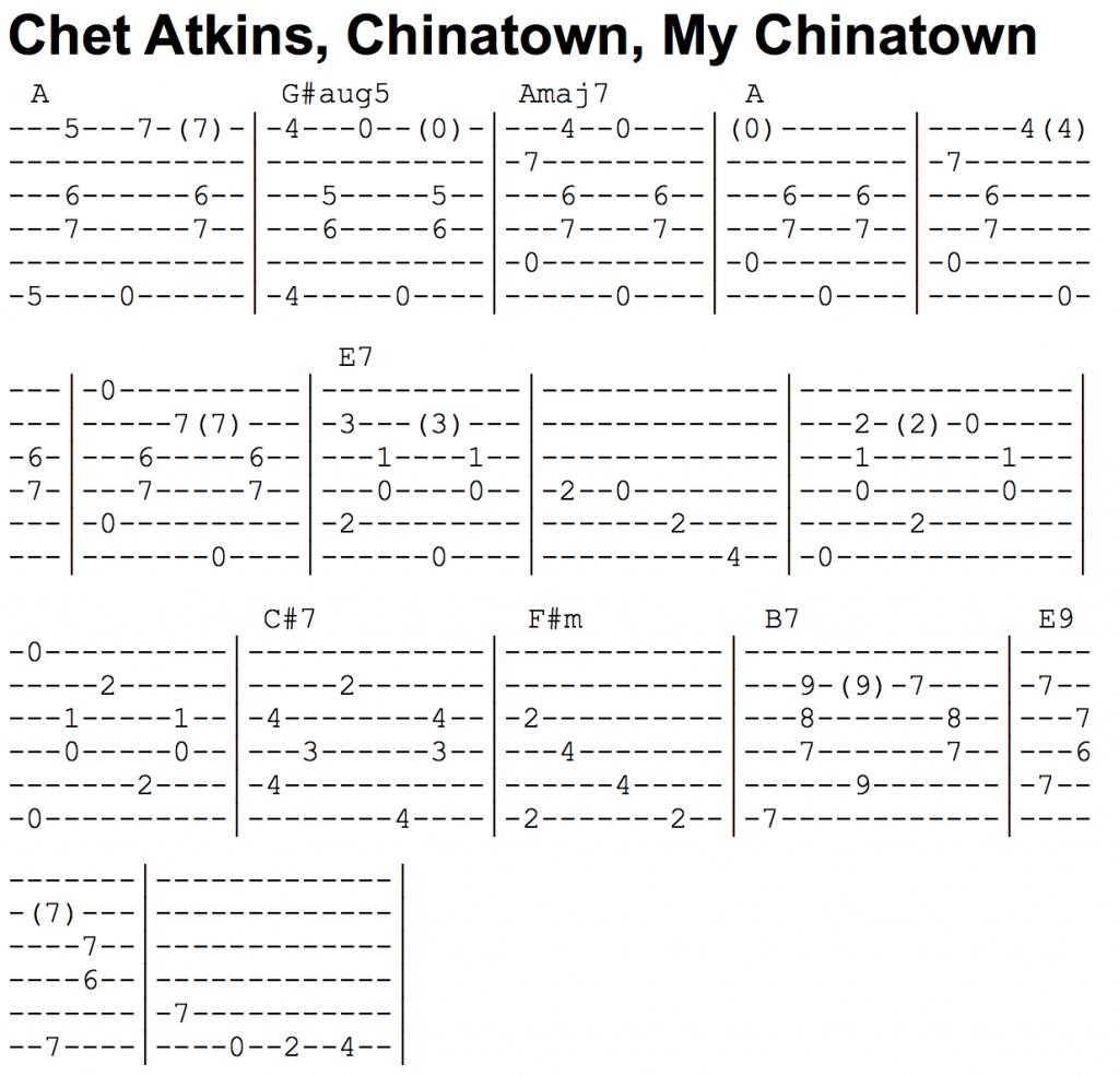 Chet Atkins - Chinatown Tab Example